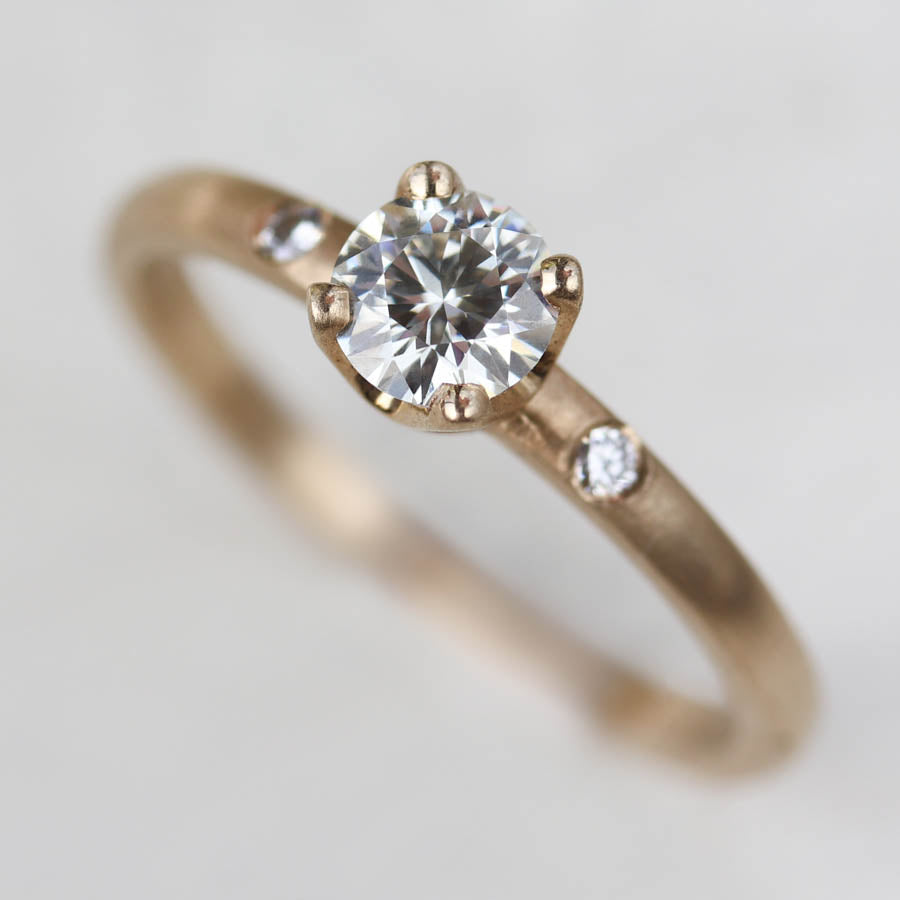 Crown Solitaire with Side Stones >7.25, Engagement Ring - Aide-mémoire Jewelry