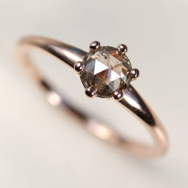 5mm Six Prong Solitaire with Rose Cut Diamond, Engagement Ring - Aide-mémoire Jewelry