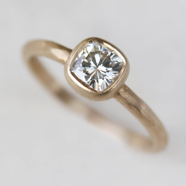 Rustic Cushion Cut Engagement Ring, Engagement Ring - Aide-mémoire Jewelry