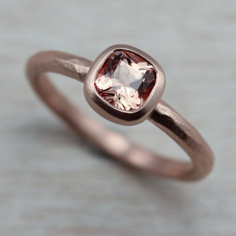 Rustic Cushion Solitaire Ring with Light Peach Sapphire