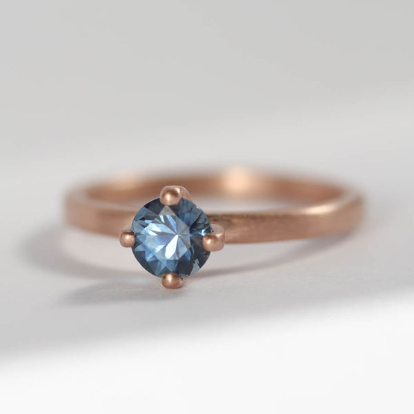 Denim Blue Sapphire & Rose Gold Solitaire, Engagement Ring - Aide-mémoire Jewelry