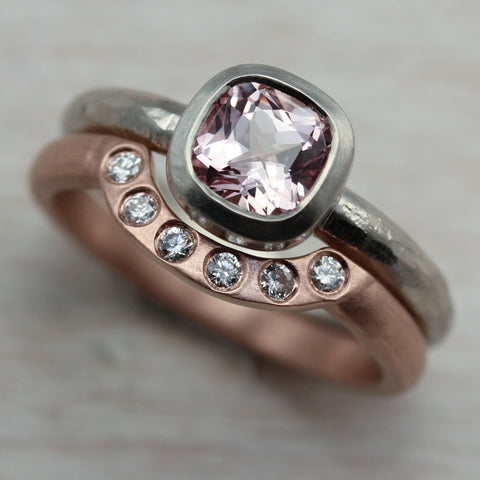 Rustic Cushion Solitaire and Diamond Contour Band