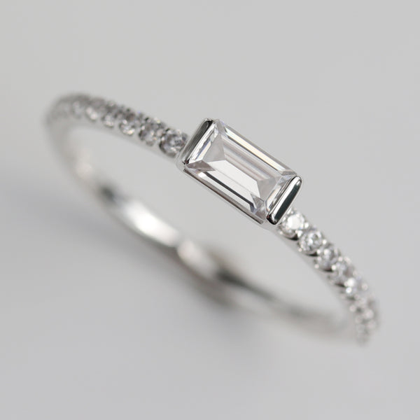 Baguette Pave Stacking Ring