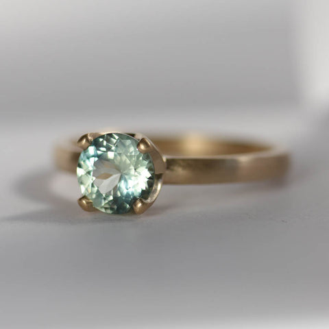 Light Aqua Malawi Sapphire Solitaire Engagement Ring