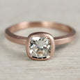 Deco 6mm Cushion Cut Engagement Ring •