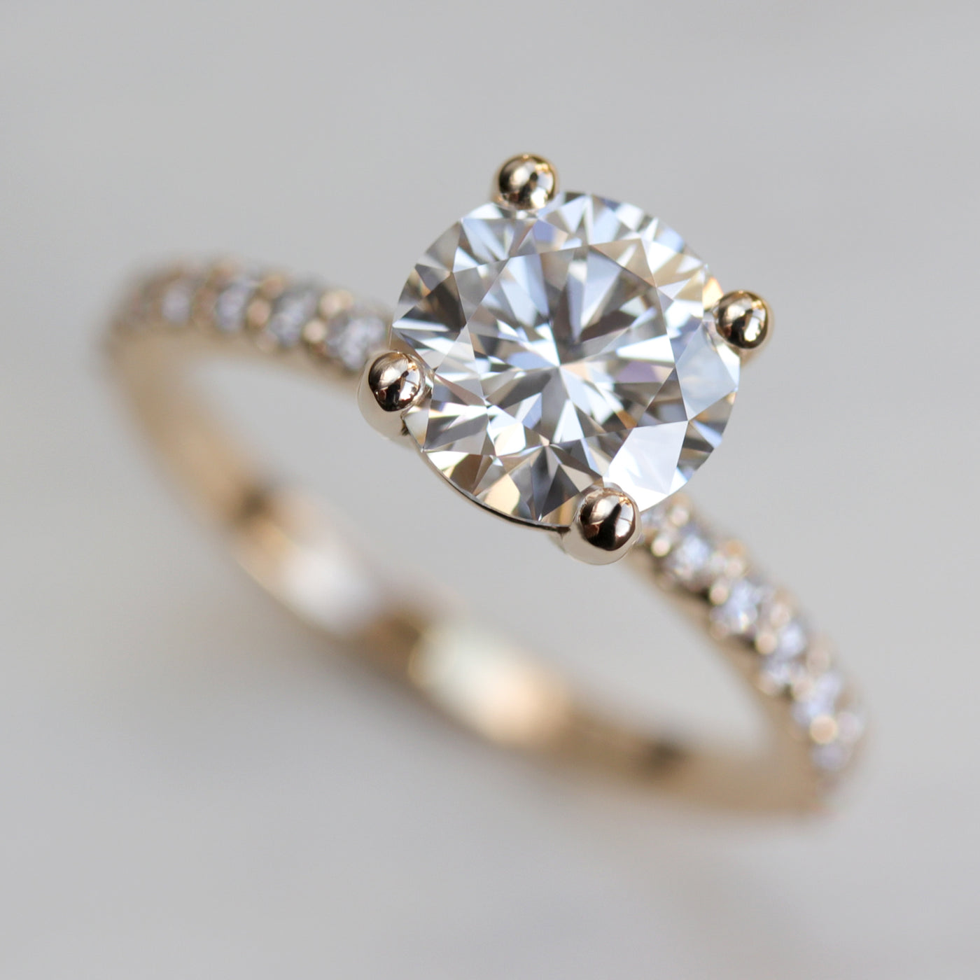 7mm Pave Basket Solitaire •