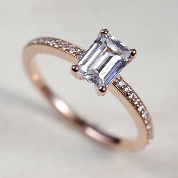Emerald Cut Pave Basket Solitaire Engagement Ring - Ethical, Eco-friendly Jewelry