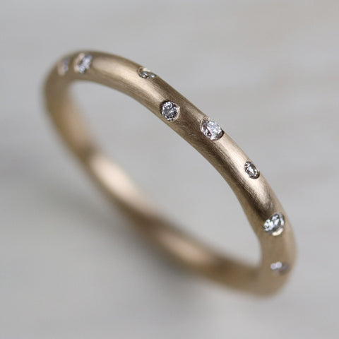 Round Sculpted Diamond Stacking Ring, Full Eternity Style