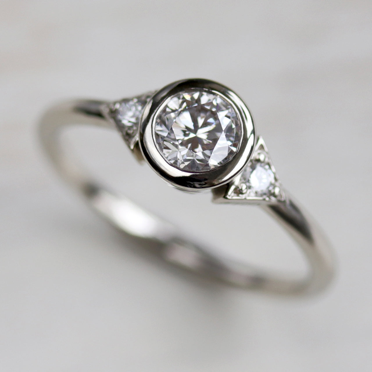 Deco Three Stone Ring >7.25, Engagement Ring - Aide-mémoire Jewelry