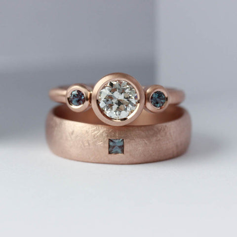 Alexandrite & Rose Gold Wedding Band Set