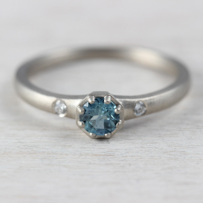 Australian Sapphire and 14k White Gold Engagement Ring, Engagement Ring - Aide-mémoire Jewelry