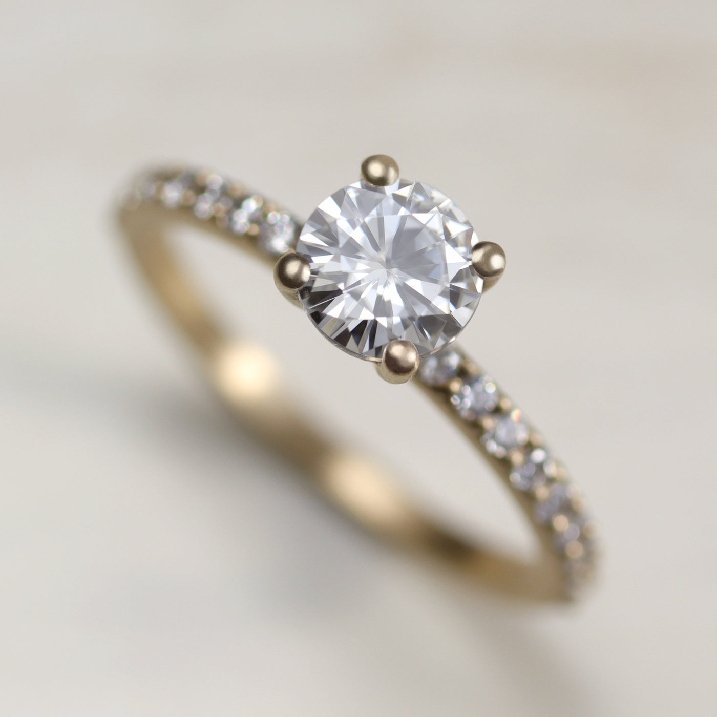 6mm Pave Basket Solitaire •