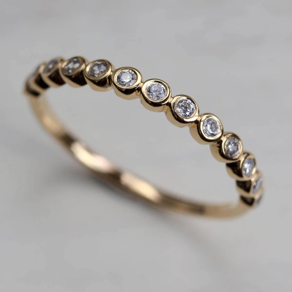 Bezel Set Half Eternity-Style Band - Ethical, Eco-friendly Jewelry