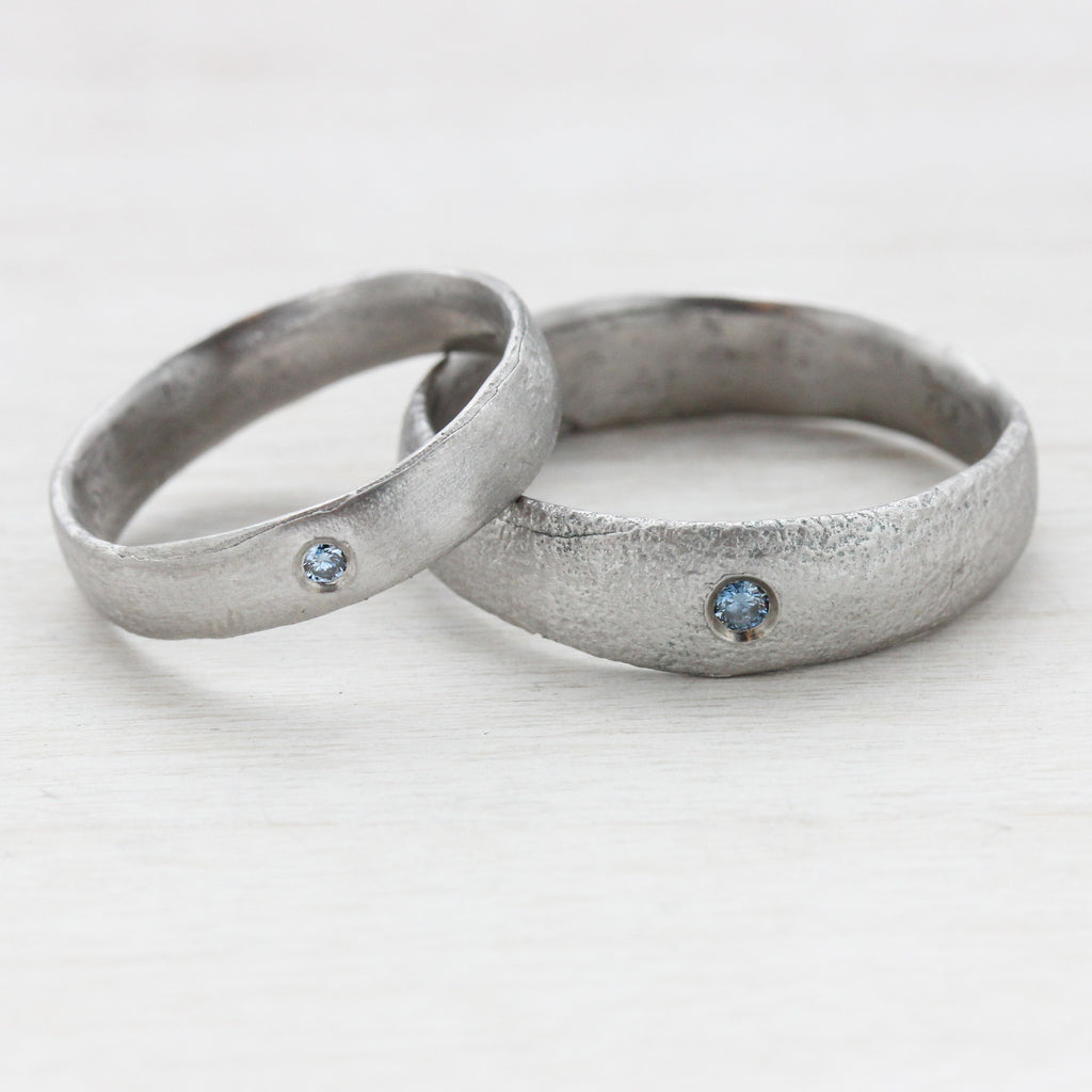 Ancient Texture Bands with Flush Set Blue Diamonds, Engagement Ring - Aide-mémoire Jewelry
