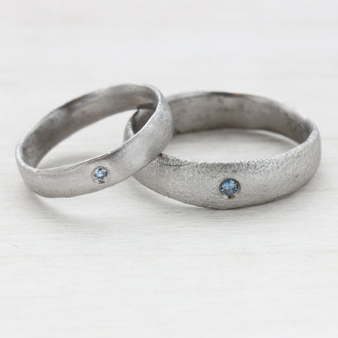 Ancient Texture Bands with Flush Set Blue Diamonds