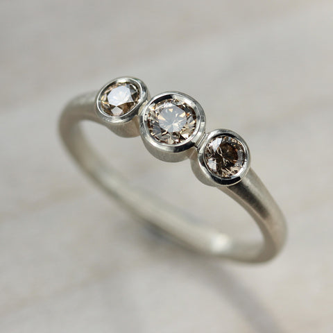 Champagne Three Stone Ring