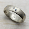 Chunky Ancient Ring with Flush Set Stones, Wedding Band - Aide-mémoire Jewelry