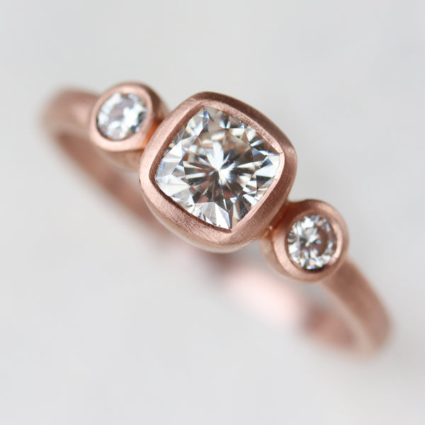 Cushion Three Stone Ring •