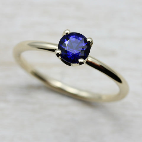 Custom Crown Solitaire with Chatham Sapphire, Engagement Ring - Aide-mémoire Jewelry