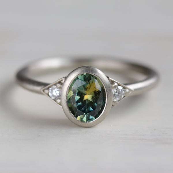 Custom Oval Deco Three Stone Ring