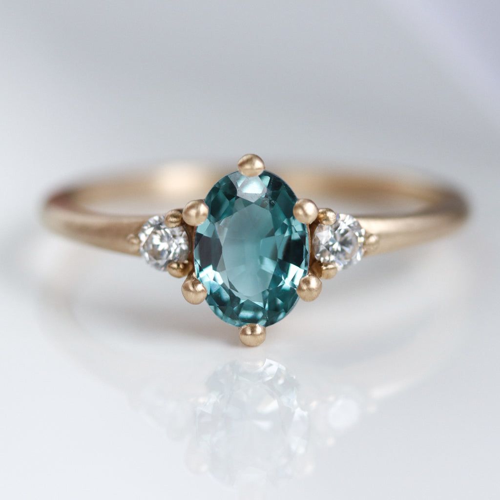 Prong-set Three Stone Ring with Oval Australian Sapphire