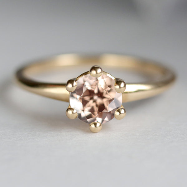 Peach Sapphire Six-Prong Solitaire