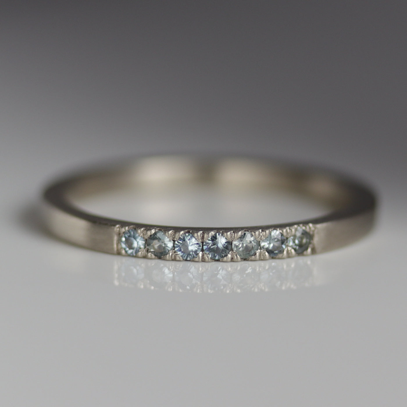 Pale Blue Sapphire Seven Stone Stacking Ring
