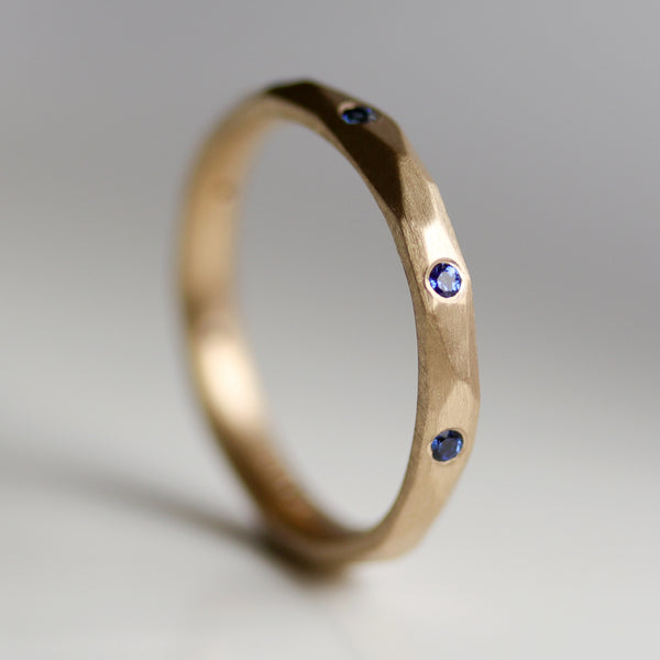 Flush Set Faceted Band with Blue Sapphires