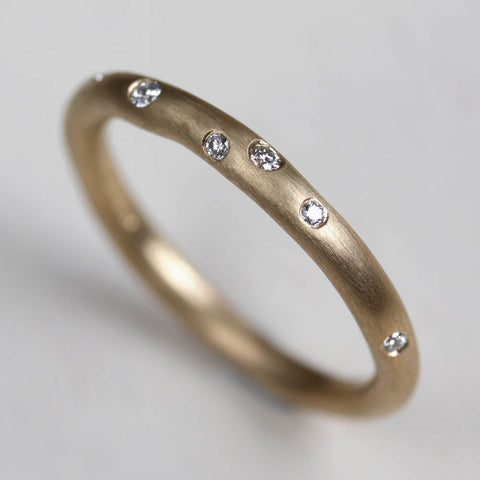 Round Sculpted Diamond Stacking Ring