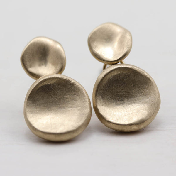 Double Sculpted Disc Dangle Earrings, Earrings - Aide-mémoire Jewelry