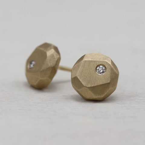 Diamond Round Faceted Post Earrings