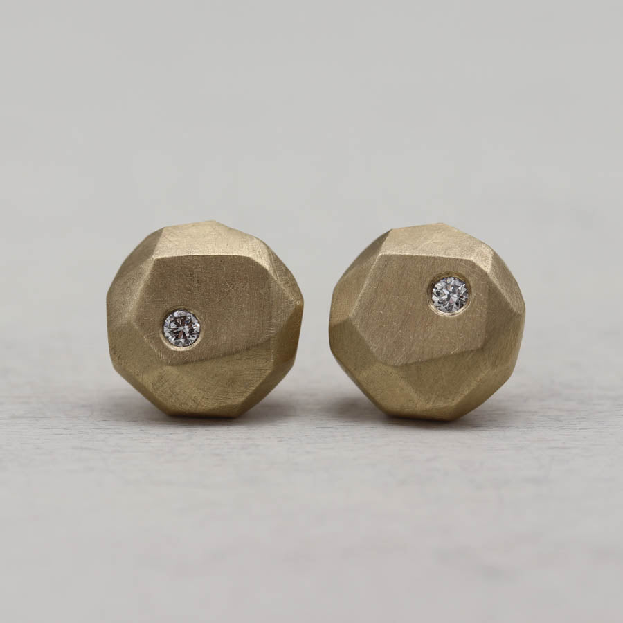 Diamond Round Faceted Post Earrings, Earrings - Aide-mémoire Jewelry