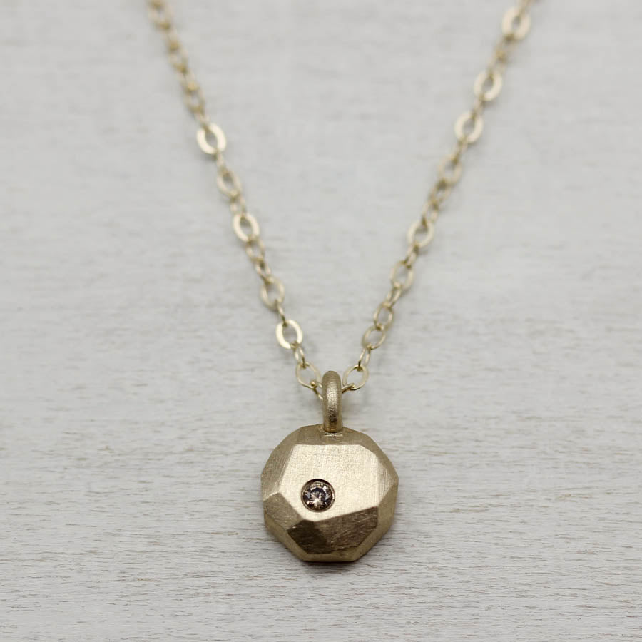 Yellow Gold Faceted Pendant with Champagne Diamond