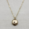 Champagne Diamond Round Faceted Pendant Necklace, Women's Necklaces - Aide-mémoire Jewelry