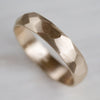 Wide Smooth Faceted Wedding Band •