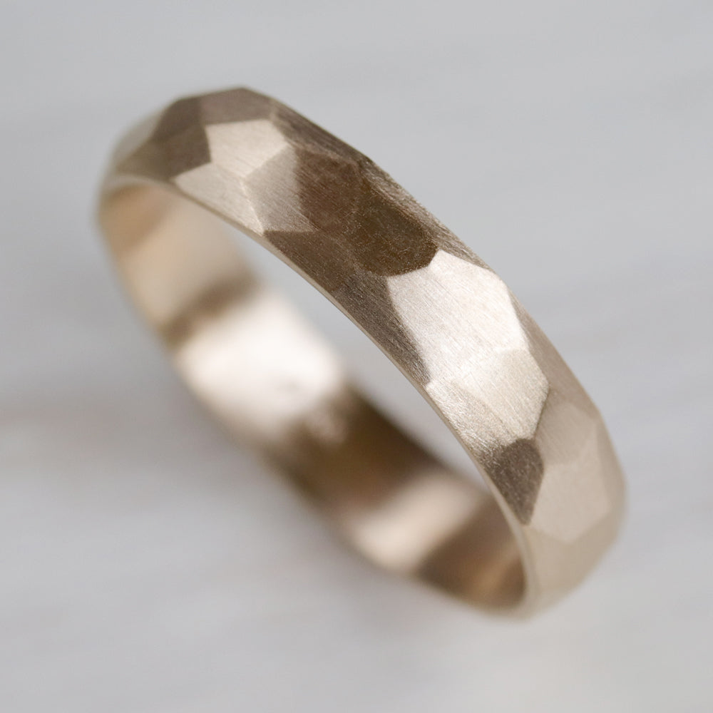 Wide Smooth Faceted Wedding Band