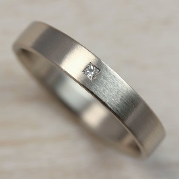 Flush Set Square Diamond Ring •