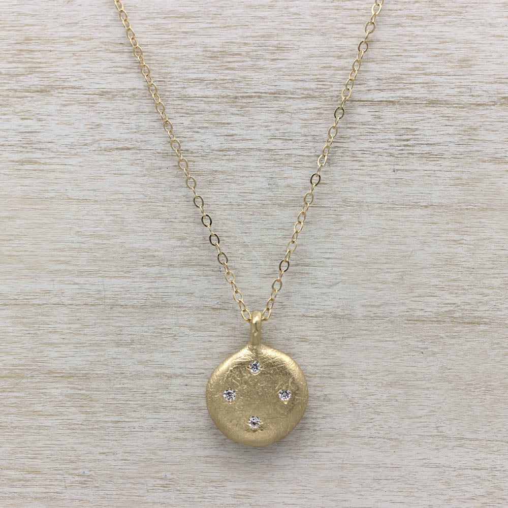 Diamond Scatter Ancient Coin Pendant, Necklace - Aide-mémoire Jewelry