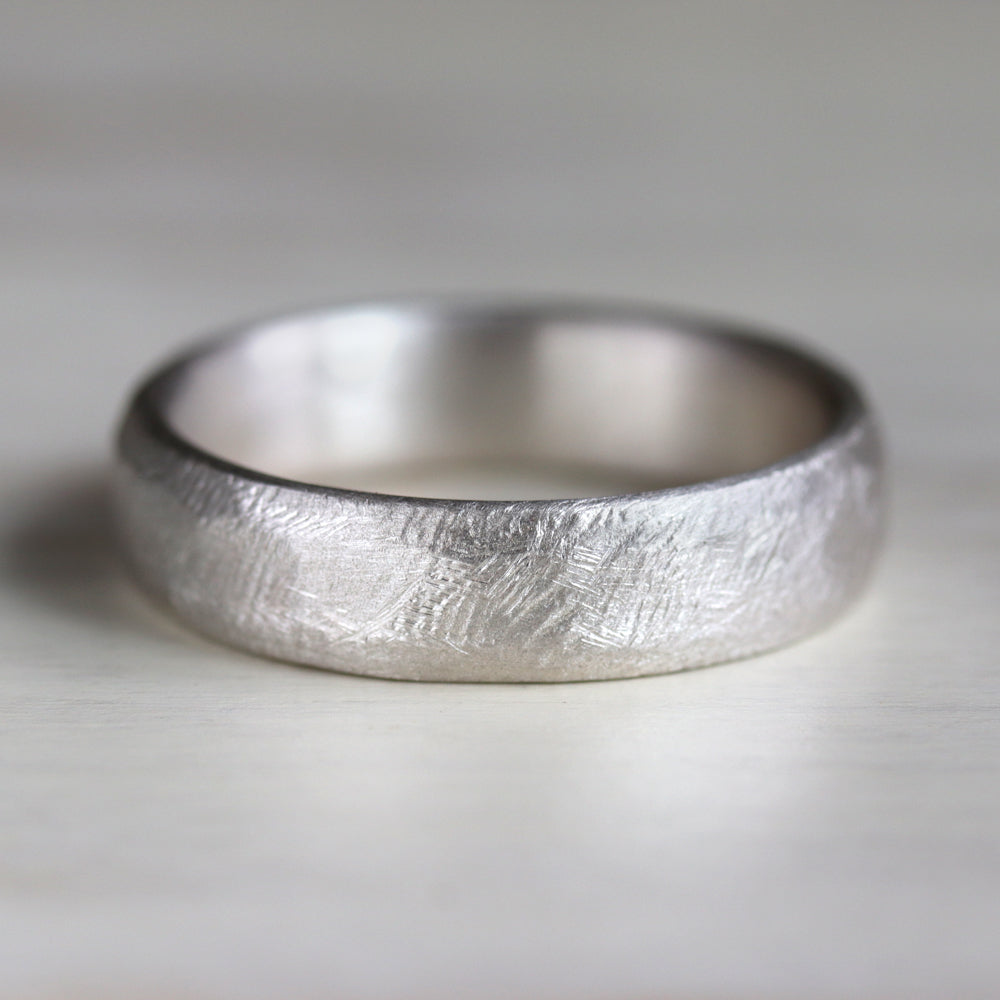 Men's Silver Hand-Hewn Band, Engagement Ring - Aide-mémoire Jewelry