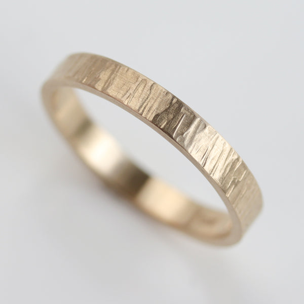 Size 5 - 14k Yellow Gold Narrow Wood Textured Band