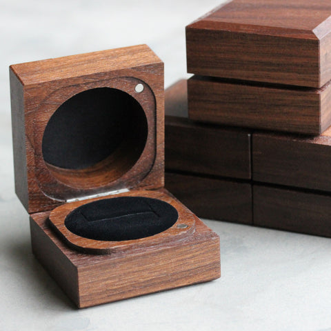 Handmade & Sustainable Walnut Ring Boxes