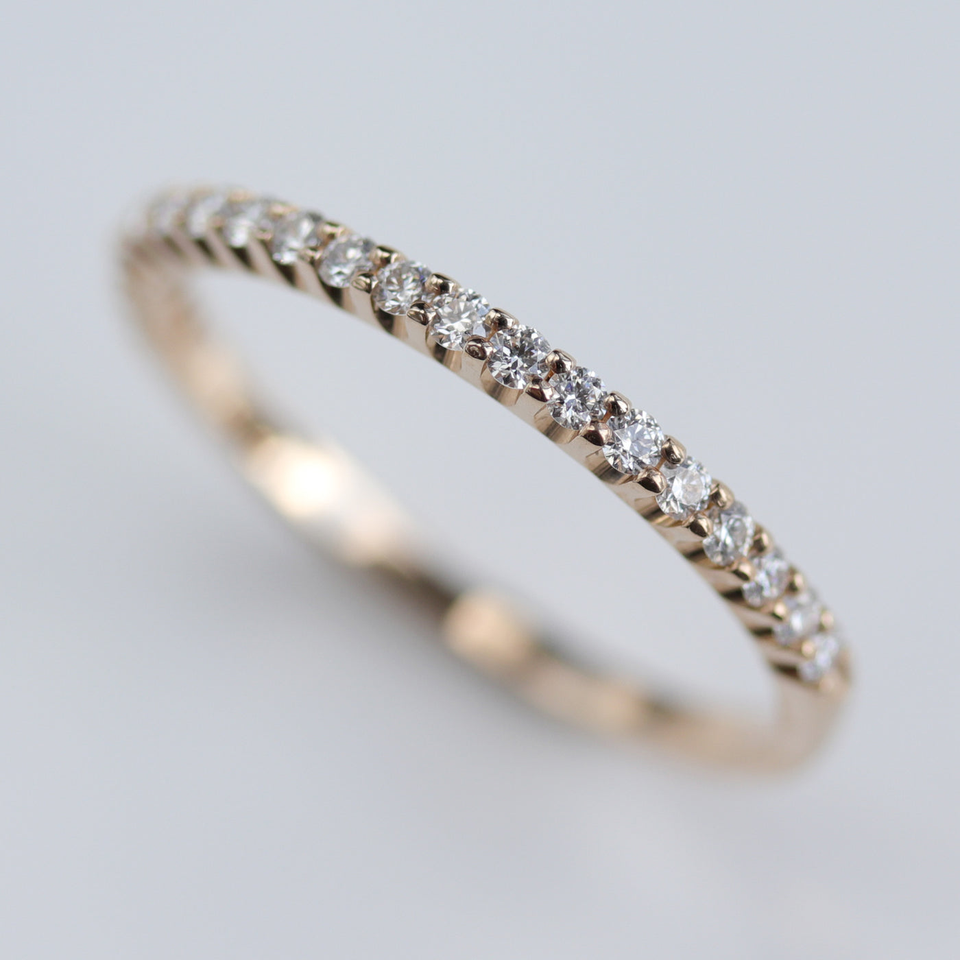 Size 7 - 1.5mm Diamond Half Eternity Band with Flat Sides