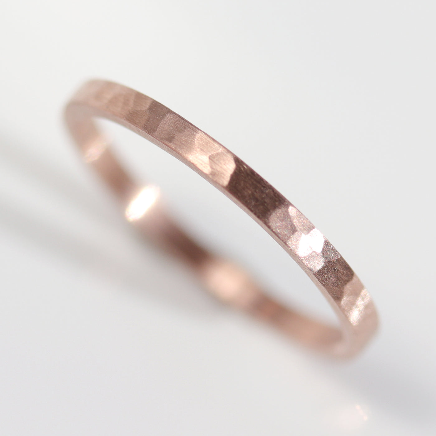Size 2.75 - 14k Rose Gold Hammer Textured Skinny Flat Ring