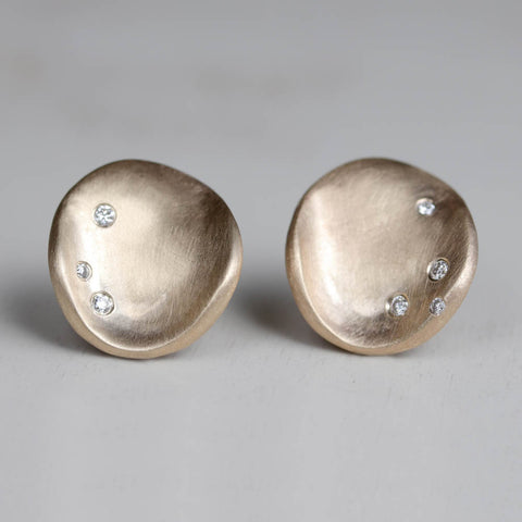 Large Sculpted Disc Diamond Stud Earrings