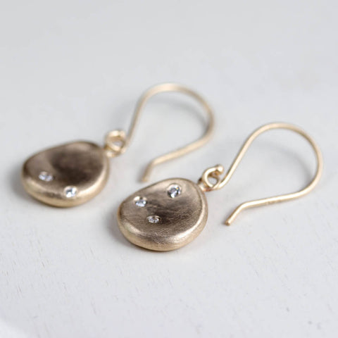 Medium Sculpted Disc Diamond Dangle Earrings