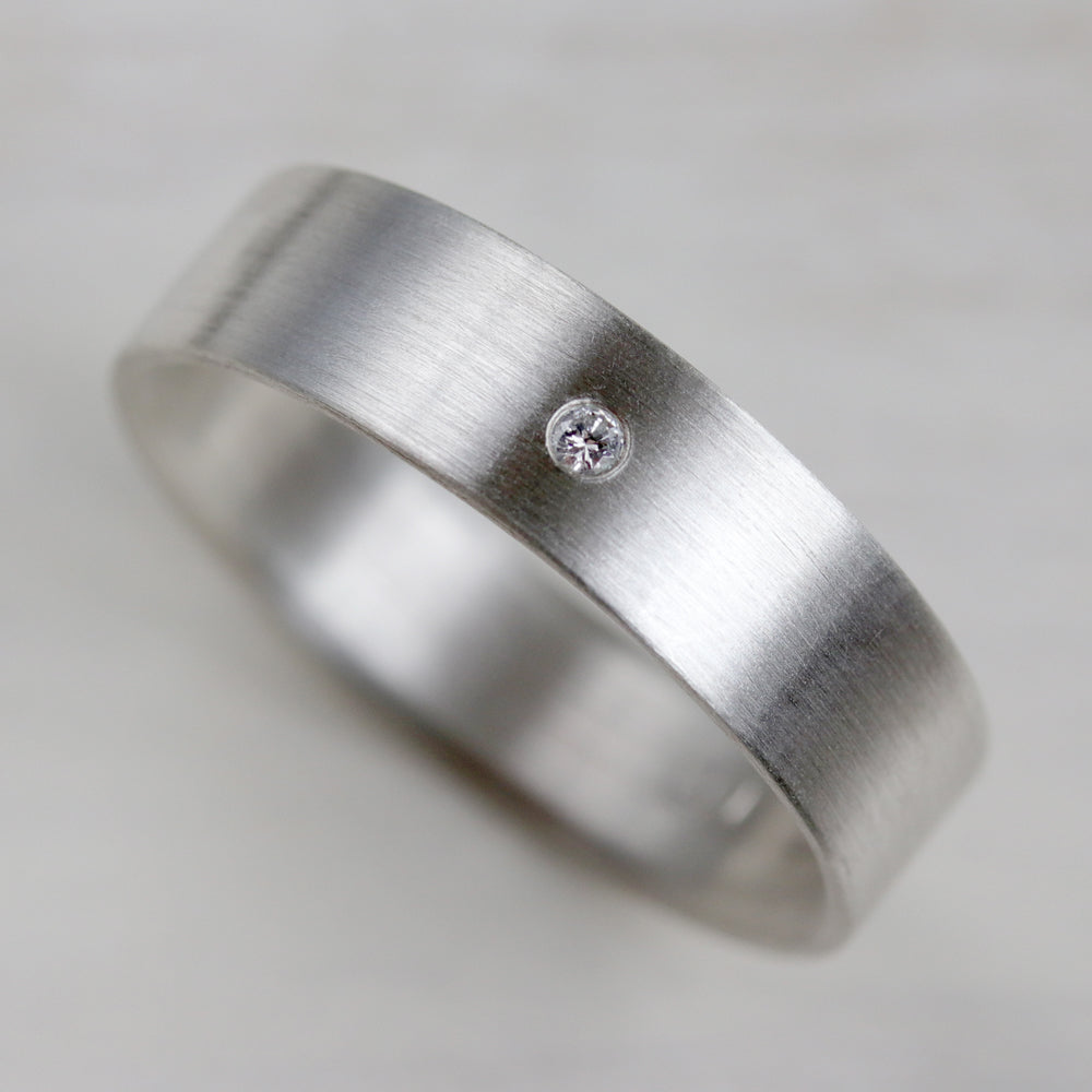 Silver Engagement Band with Flush Set Diamond