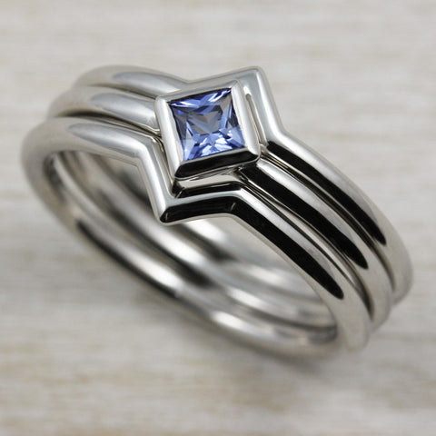 Oblique Square Solitaire Engagement Ring with Chatham Sapphire
