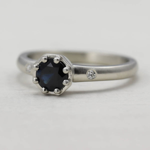 Octagon Solitaire with Dark Blue Sapphire, Engagement Ring - Aide-mémoire Jewelry