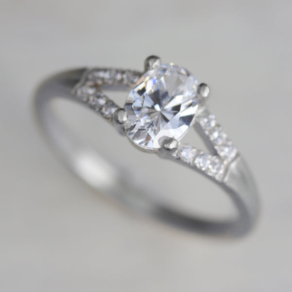 7x5mm Pave Split Shank Oval Solitaire