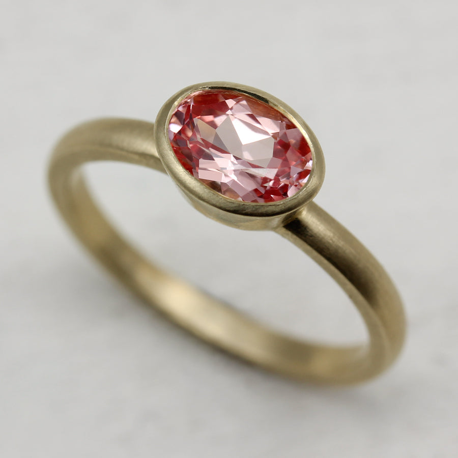 Oval Solitaire Engagement Ring with Pink Champagne Sapphire